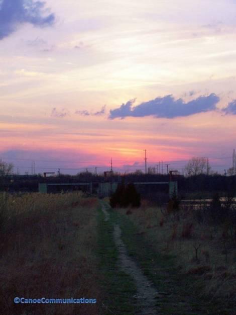 walk on a path at twilight