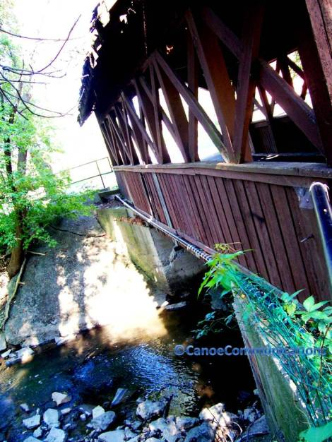 creek and covered bridge