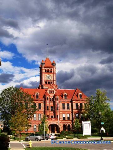 courthouse and stormy sky