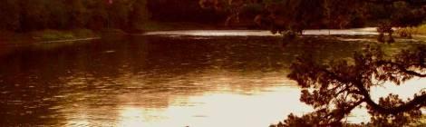 fisherman on lake at sunset