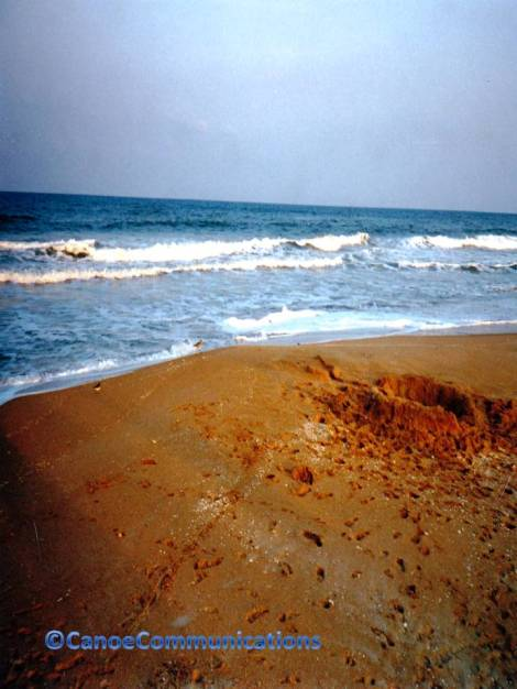 ocean and sand footprints