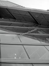 black and white steel and glass rising up