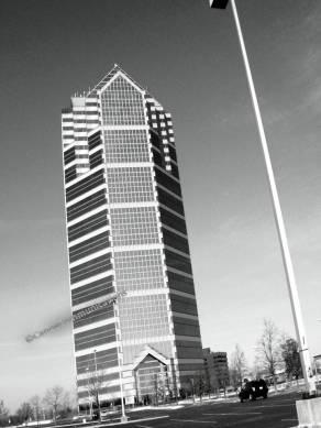 Helmut Jahn skyscraper in black and white