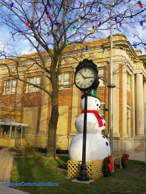 Whiting snowman and clock