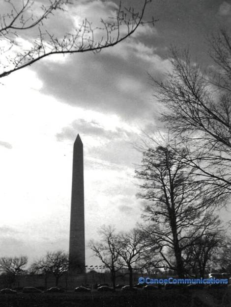 black and white Washington Monument