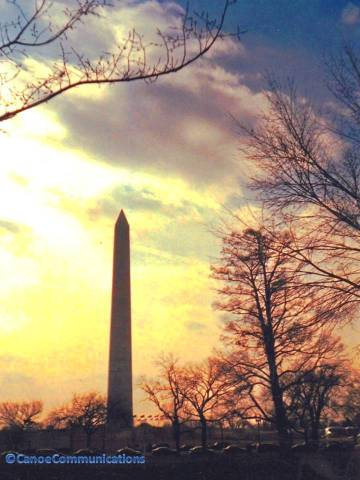 sunset and Washington Monument