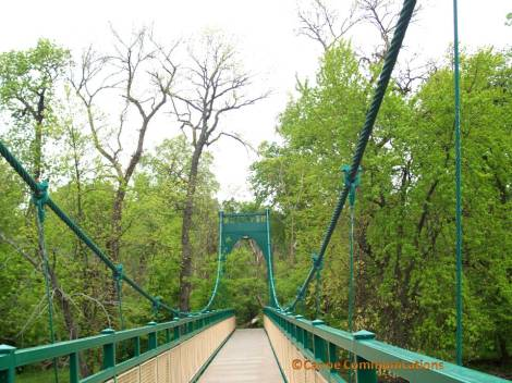green suspension bridge