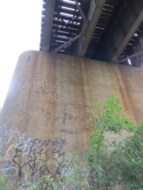 graffiti covered trestle