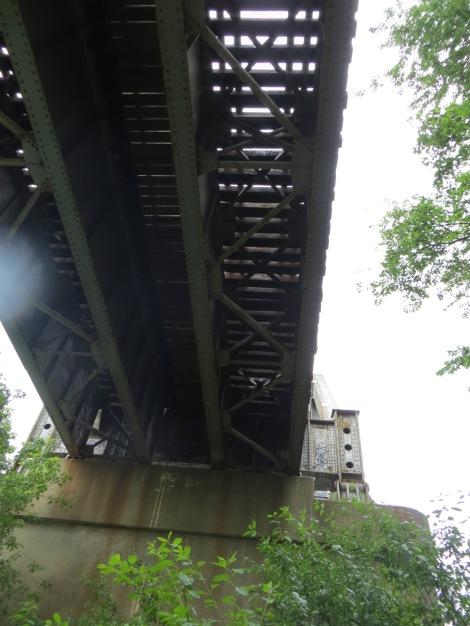 under a train trestle