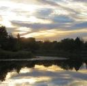 autumn lake sunset