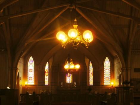 warm, welcoming inside a church